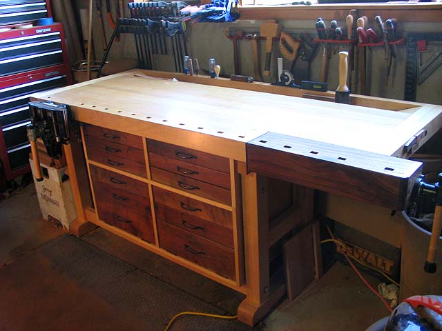 workbench cabinet details shown above click the photo for a larger image this cabinet is built in two sections and fits snuggly on the maple stretchers - Workbench Design Ideas