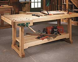 woodsmith workbench woodworking plan a modern european style workbench that has both a front vise and an innovative and easy to build tail vise - Workbench Design Ideas